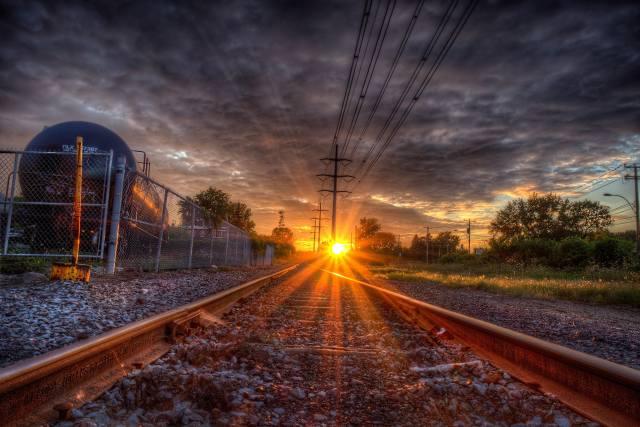 železnice, západ slunce