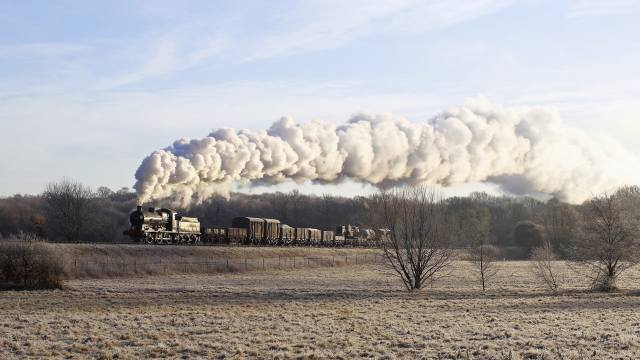 поїзд, паровоз, дим