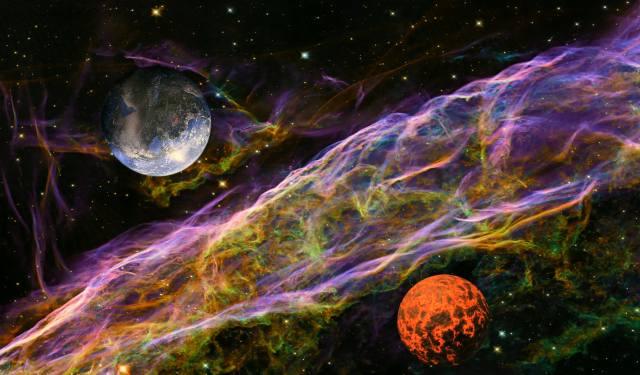 fantasy, тема космоса, planety, mlhavost