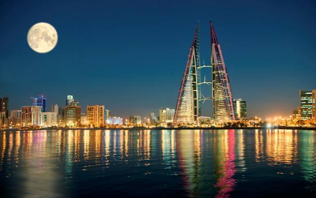 ніч, вогні, місяць, бахрейн