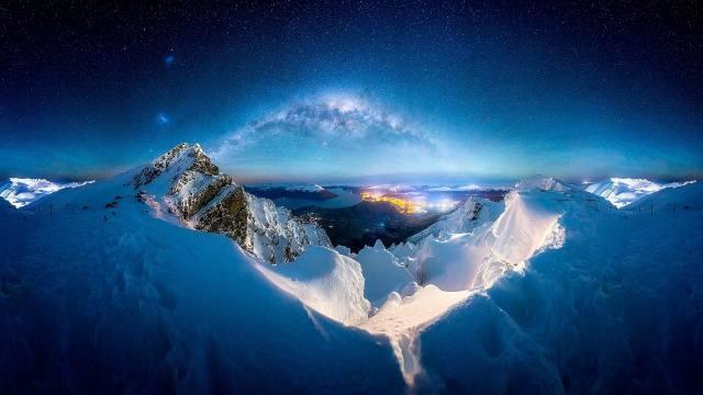 ніч, зірки, гори, сніг, вогні, горизонт