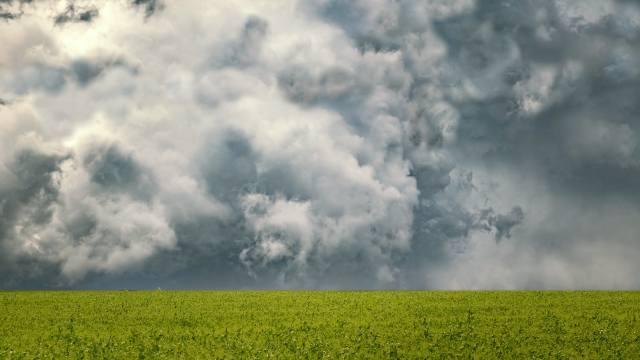 небо, хмари, луг
