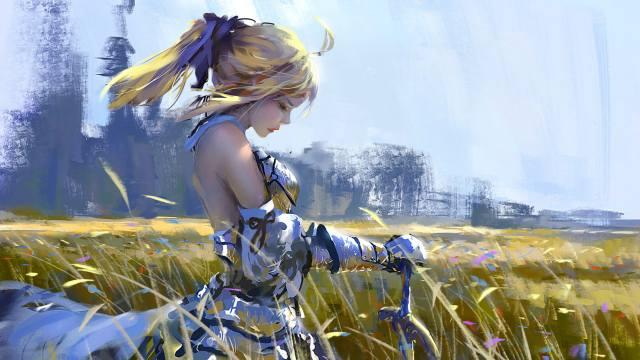 поле, дівчина, Меч