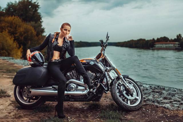 Harley Davidson, мотоцикл, байк, дівчина