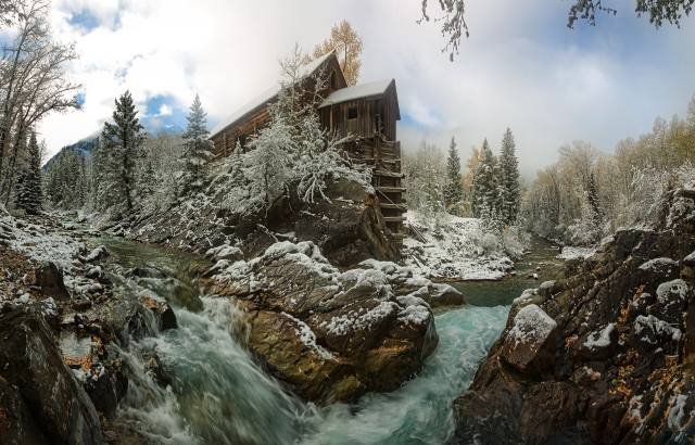 ліс, сніг, річка, Хатинка