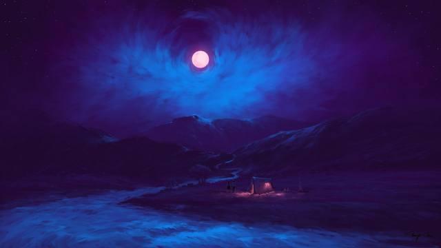 CGI, fantasy, night, the moon