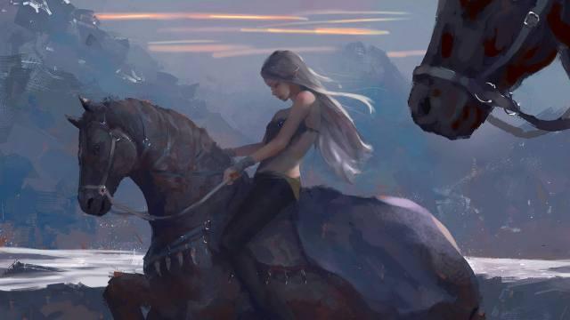 wlop, horses, всадница, elf