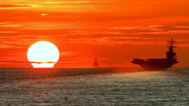 atomic, the carrier, рональд рейган, evening, sunset