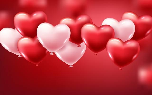 білі, і, червоні, кульки, в, формі, серця, на, червоному