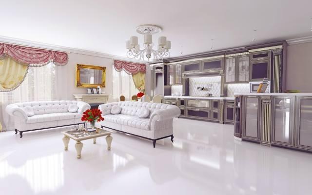 розкіш, меблі, інтер'єр, дзеркало, вікна, штори, стіл, квіти, троянди