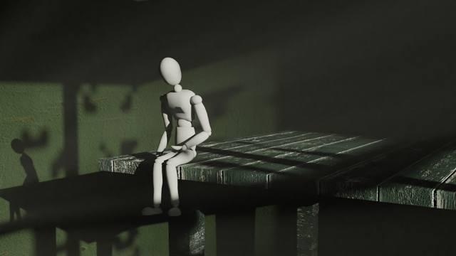 зелений, самотність, іграшка, человечик, стіл