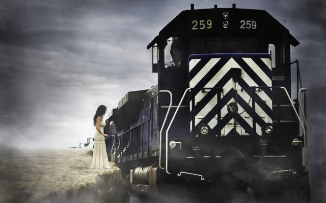 поїзд, залізниця, небо, хмари, дівчина