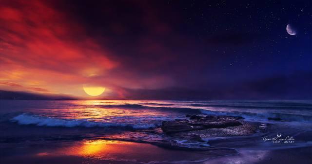 океан, захід, illustration