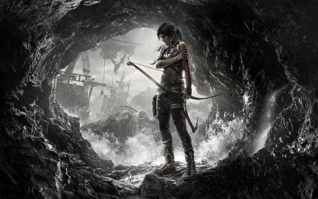 лара, крофт, girl, character, the rain, cave, ships, sea