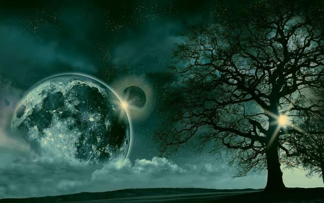 night, landscape, the sky