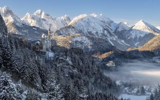 Німеччина, баварія, природа, краєвид, гори, Ліси, дерева, їли, замок