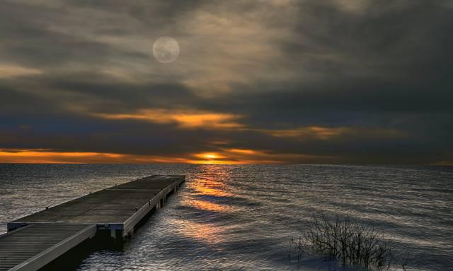 краєвид, море, небо, місяць, захід, хмари, Причал