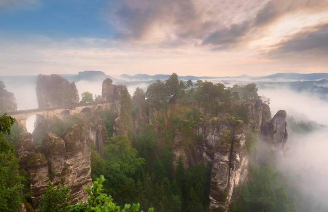 гори, скелі, небо, туман, краєвид