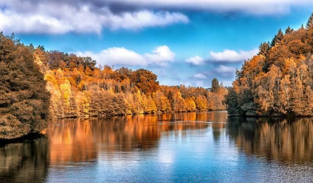 the sky, river, trees, autumn, landscape
