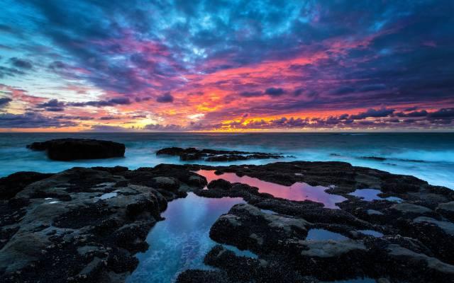 небо, берег, горизонт, скелі, захід, вечір, море, узбережжя