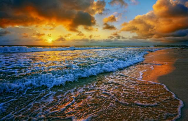 краєвид, прибій, пляж, пісок, небо, море, захід