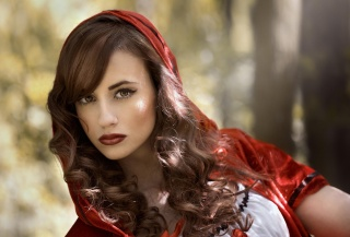 brown-eyed, portrait, little red riding hood