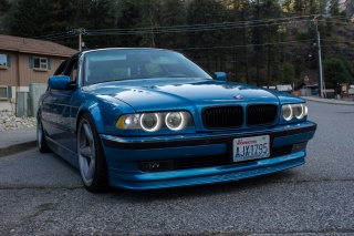 bmw, E38, 7series, blue, asphalt, the house, lights, drives, forest
