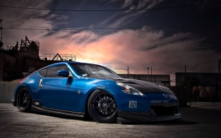 nissan, 370z, tuning, обвес, the sky, clouds, plant, drives