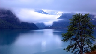 mountains, fog, river