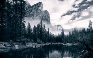 река, горы, лес, деревья, закат, отражение, тучи, облака, небо