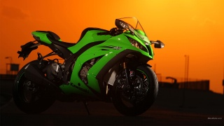 kawasaki, ninja, evening, sunset