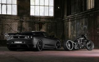 Автомобиль, мотоцикл, чорный, гараж