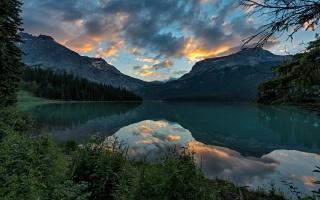 park, Kanada, hory, jezero, nebe, západ slunce, krajina, Yoho, les, nebe, mraky, odraz, příroda
