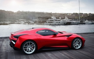 Icona, Vulcan, machine, sports car, Red, Coupe, Auto, Side view, Pier