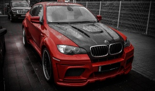 Supercars, bmw, BMW, Hamann, X6M, red, tuning, Jeep, jeep, Parking, the rain, tuning