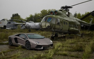 lamborghini, aventador, LP700-4, Grey, Lamborghini, Aventador, Helicopter, car