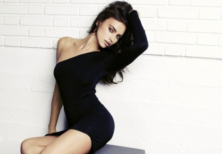 Irina Shayk, brunette, posing, view, figure, black, white background, theme