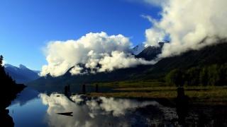 туман, хмари, гори, річка