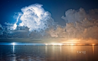 pros, photo, bing, nature, the storm, the sky, clouds, cloudy, lightning, 1000000000 volt, 400000 and, dangerous, USA, Florida, the city, night