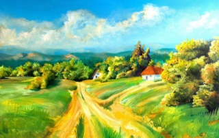 picture, Ukraine, painting, nature, village, beautiful, forest, hills, mountains, road, theme