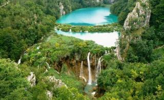 příroda, Chorvatsko, letovisko, les, vodopád, lidé, turisté, krásně, hory, skály, vodopád, příroda, Chorvatsko