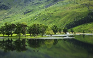 nature, the lake, mountains, trees, fishing, landscape, water, reflection
