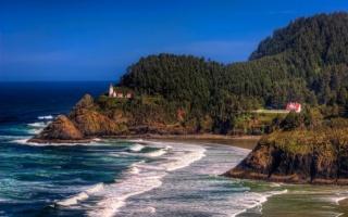 природа, побережье, горы, маяк, дом, лес, красиво, океан, пляж, пейзаж