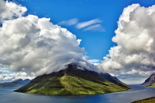 Faroe Islands, Faroe Islands, nature, mountains, Bay, the sky, clouds, fish farm
