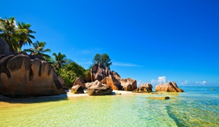 nature, island, Seychelles, Seychelles, tropics, palm trees, the beach, stones, rock, the sky, clouds, beautiful