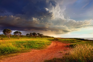 Australia, storm, clouds, the sky, clouds, cyclone, shore, road