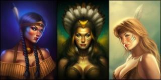 девушка, индеец, головной убор, рисунок