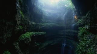 descent, gorge, cave, light, landscape, nature, waterfall