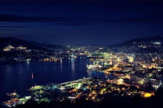 город, огни, освещение, здания, горы, красота, море, побережье