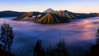 вулкан, туман, гора, небо